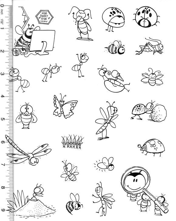 Full Sheet of Bug Rubber Stamp Dies (Bee, Ant, Lady bug, Butterfly, Bed Bugs, Dung Beetle, Grasshopper)