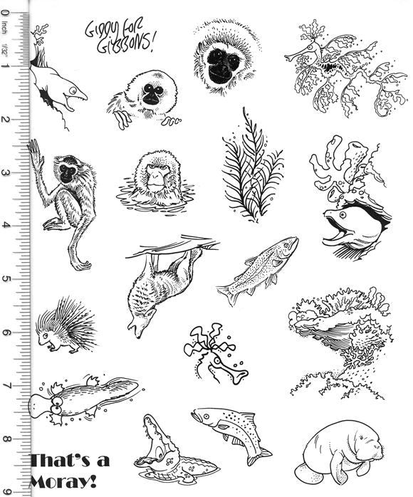 Full Sheet of Wildlife Rubber Stamp Dies (Eel, Gibbon, Snow Monkey, Seaweed, Coral Reef, Manatee)