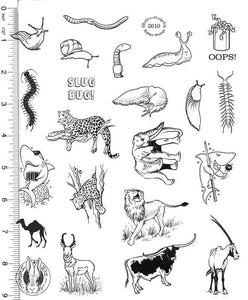 Full Sheet of Wildlife Rubber Stamp Dies (Snail, Worm, Elephant, Jaguar, Shark, Lion, Antelope, Camel, Cattle)