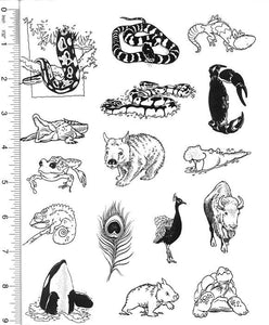 Full Sheet of Wildlife Rubber Stamp Dies (King Snake, Python, Crocodile, Peacock, Tortoise, Crab, Wombat)