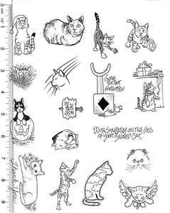 Full Sheet of Cat Rubber Stamp Dies (Pet Loss, Tabby Cat, Angel Kitty, Thank You, Sympathy)