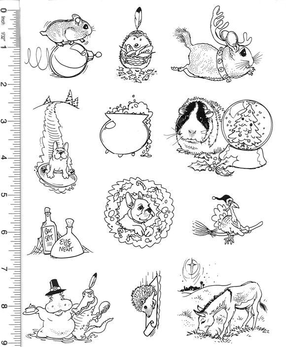 Full Sheet of Halloween, Thanksgiving, and Christmas Rubber Stamp Dies (Hamster, Chinchilla, Guinea Pig, Hedgehog)