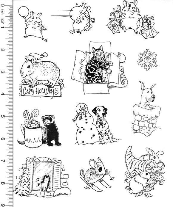 Full Sheet of Christmas Rubber Stamp Dies (Hamster, Capybara, Cat, Ferret, Great Dane, Chinchilla, Rabbit)