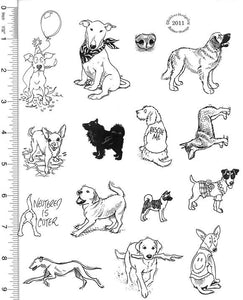 Full Sheet of Dog Rubber Stamp Dies (Birthday Dog, Bull Terrier, Chihuahua, Greyhound, Labrador Retriever)