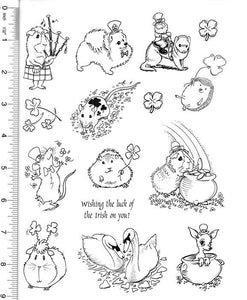 Full Sheet of St. Patrick's Day and Valentine's Day Rubber Stamp Dies (Guinea Pig, Pomeranian, Ferret, Leprechaun)