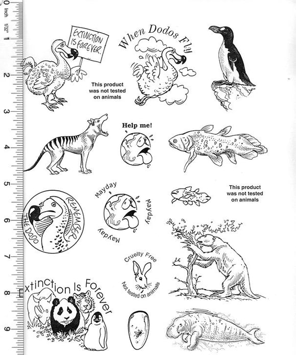 Full Sheet of Extinct Animal and Conservation Rubber Stamp Dies (Dodo Bird, Thylacine, Great Auk, Coelacanth)