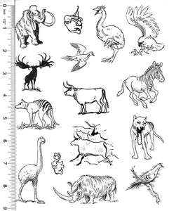 Full Sheet of Extinct Animal Rubber Stamp Dies (Mammoth, Thylacine, Woolly Rhino, Cave Paintings, Carrier Pigeon)