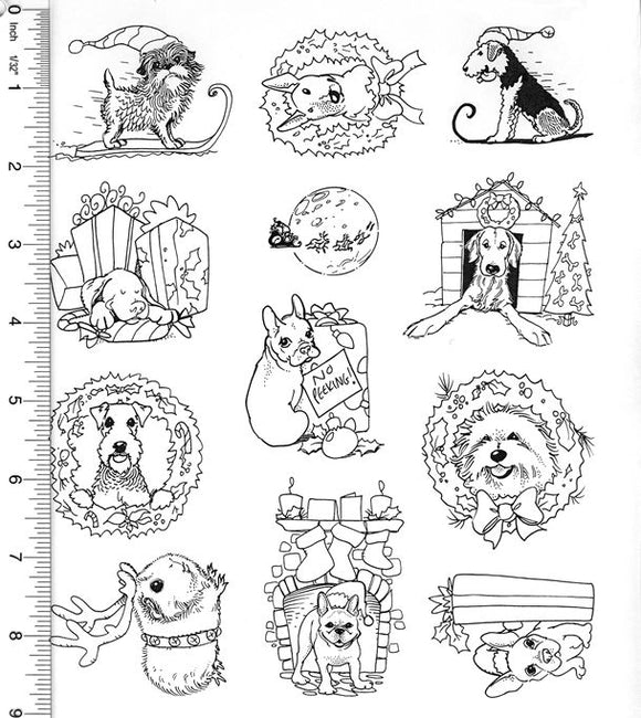 Full Sheet of Christmas Rubber Stamp Dies (Affenpinscher, Bull Terrier, Airedale Terrier, French Bulldog, Bichon Frise)