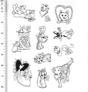 Full Sheet of Valentine's Day Rubber Stamp Dies (Poodle, Bee, Westie, Mice, Cat, Yorkie, Retriever, Rat Terrier)