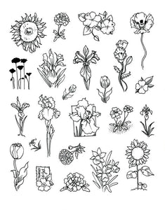 Full Sheet of Flower Rubber Stamp Dies (Sunflower, Marigold, Impatiens, Poppy Flower, Iris, Tulips, Daffodil)