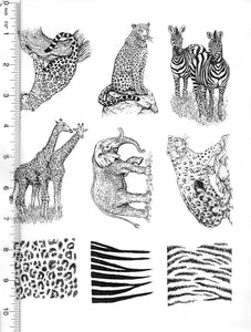 Full Sheet of Wildlife Rubber Stamp Dies (African Wildlife, Cheetah, Zebra, Giraffe, Elephant)