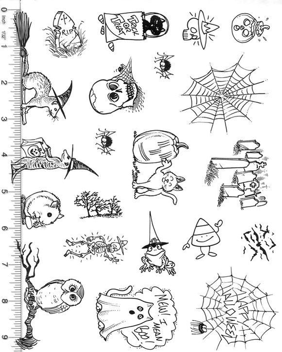 Full Sheet of Halloween Rubber Stamp Dies (Cat, Ferret, Frog, Owl, Hamster, Bats)