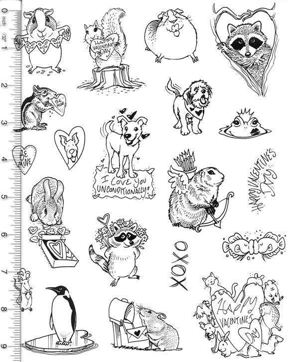 Full Sheet of Valentine's Day Rubber Stamp Dies (Groundhog, Guinea Pig, Raccoon, Penguin, Hamster, Chipmunk, Squirrel)