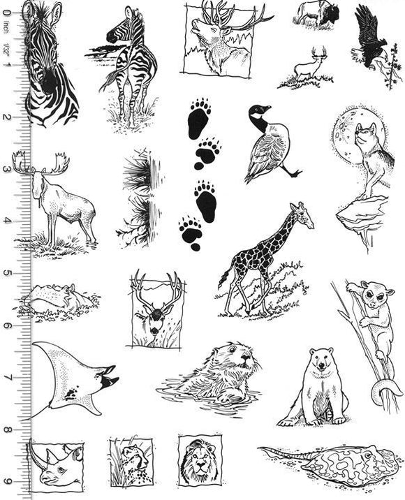 Full Sheet of Wildlife Rubber Stamp Dies (Zebra, Moose, Elk, Bison, Eagle, Sea Otter, Lion, Bear)