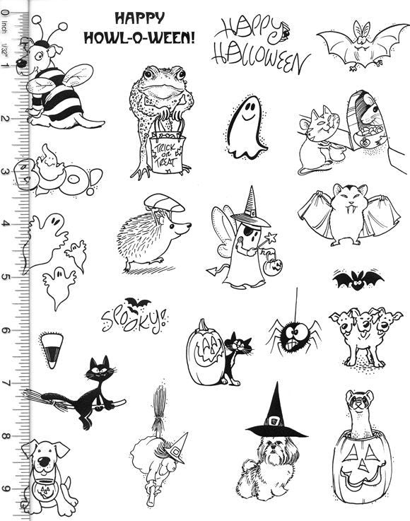 Full Sheet of Halloween Rubber Stamp Dies (Dog, Frog, Ferret, Ghost, Cat, Spooky)