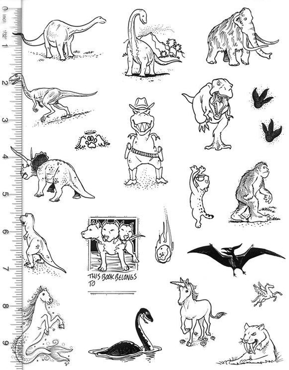 Full Sheet of Dinosaur and Mythological Rubber Stamp Dies (Tyrannosaurus, Mammoth, Big Foot, Loch Ness, Unicorn, Smilodon)