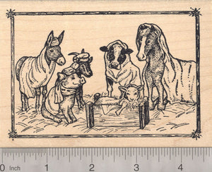 Barn Christmas Nativity Scene Rubber Stamp with donkey, horse, cow, pig, goat, and lamb