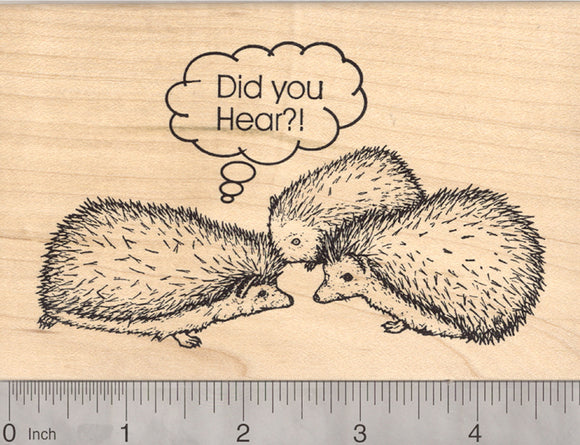 Hedgehog Rubber Stamp, Array or Group of Gossiping Hogs