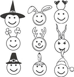 9-Piece Unmounted Holiday Smile Emoji Rubber Stamp Set