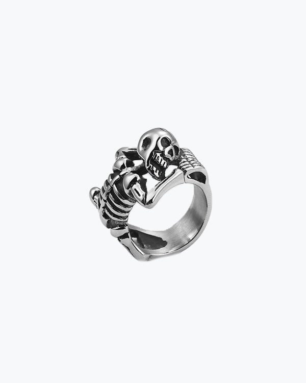Punk Stainless Steel Skull Rings For Men  Gothic Skeleton Body Charm Finger Rings Motor Biker Pub Halloween Jewelry