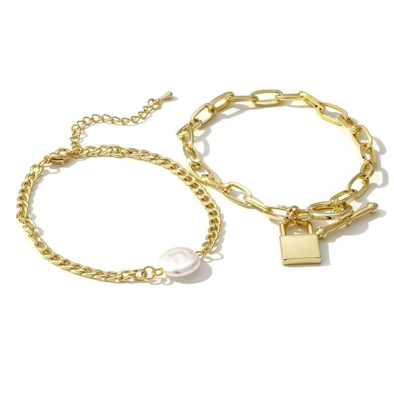 Yhpup Combination Bracelet Trendy Gold Imitation Pearls Bangle 2PCS Girlfriend Lovers Jewelry Accessories for Female Office 16 K