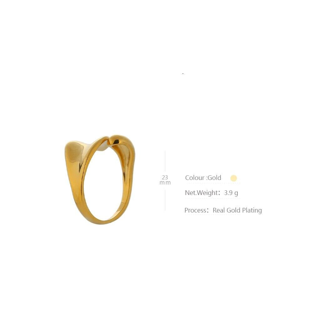 Yhpup Fashion Golden Wave Ring Copper Gold Plated Higher Quality Metal кольцо New Design Finger Ring for Women Gala Gift