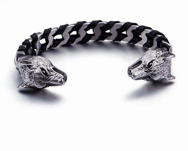 KALEN Punk Animal Skull/Wolf Head Charm Bangle For Men Stainless Steel & Genuine Cowhide Leather Cuff Bangle Biker Jewelry