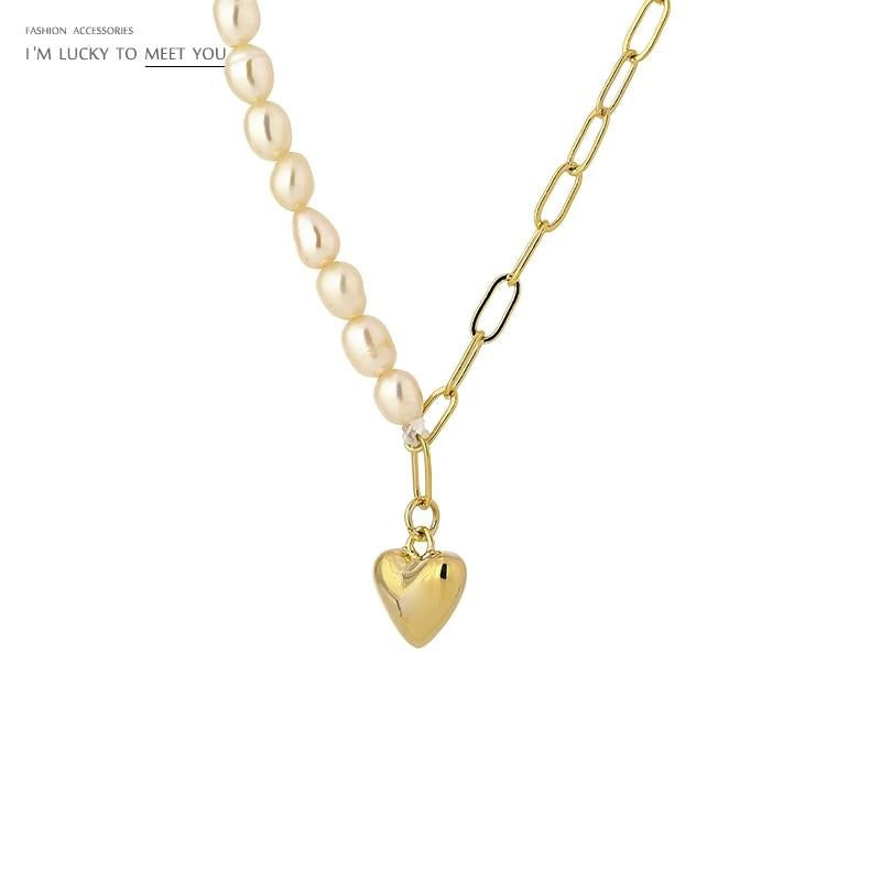 Yhpup Elegant Natural Pearl Pendant Heart Necklace for Women Fashion Gold Metal Chain Choker подвеска Collier Jewelry Gift 2020