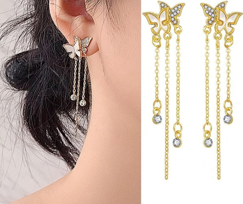 17KM Korean Butterfly Long Tassel Drop Earrings for Women Fashion Wedding Crystal Rhinestone Star Dangle Earrings Jewelry Gift