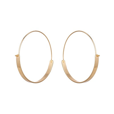 Yhpup 2020 New Brand Statement Fashion Gold Big Round Hoop Earrings Zinc Alloy Jewelry Trendy Charm Circle Earring Women Gift (Gold-color)