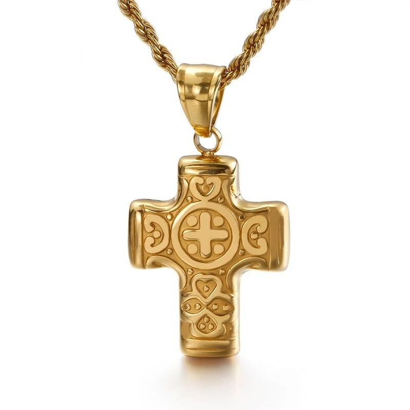 Kalen Hip Hop Gold/ Double Cross Choker Collares Stainless Steel Pendant Necklaces For Men Link Chain Male Metal Jewelry