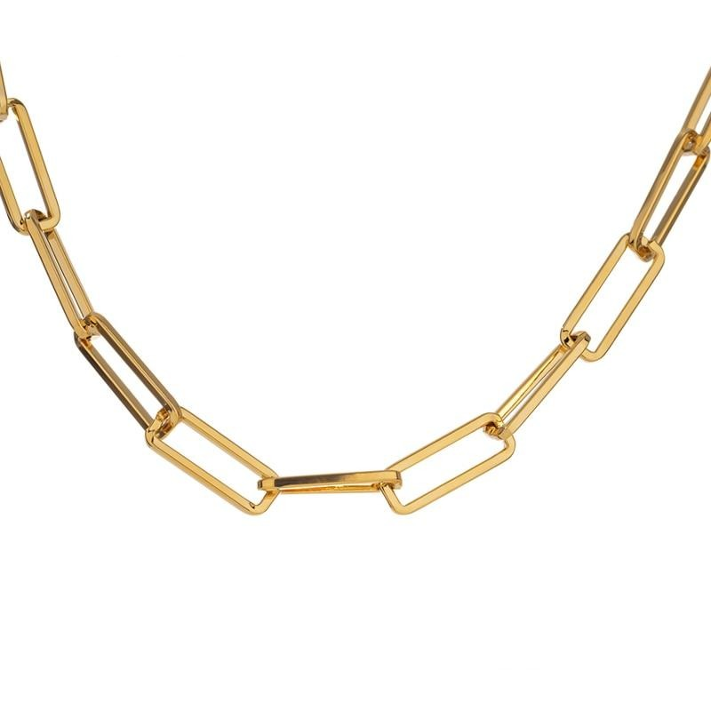 Yhpup 2020 collane donna Statement Jewelry Minimalist Golden Metal Chain Torques Necklace for Women Summer Party Gift бижутерия