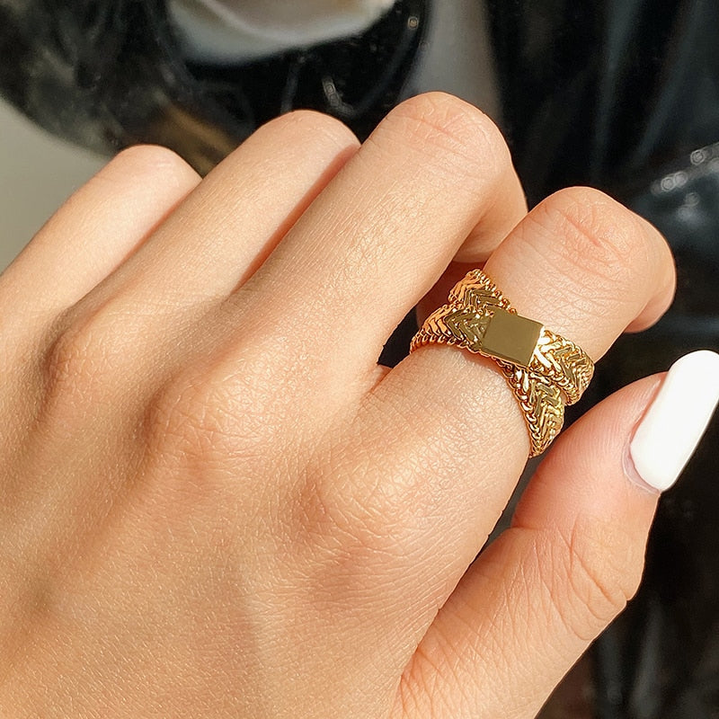 Yhpup Statement Multi-layer Wedding Bands for Women Charm Metal Gold Geometric Ring Finger Party Jewelry Anillos Mujer 2020