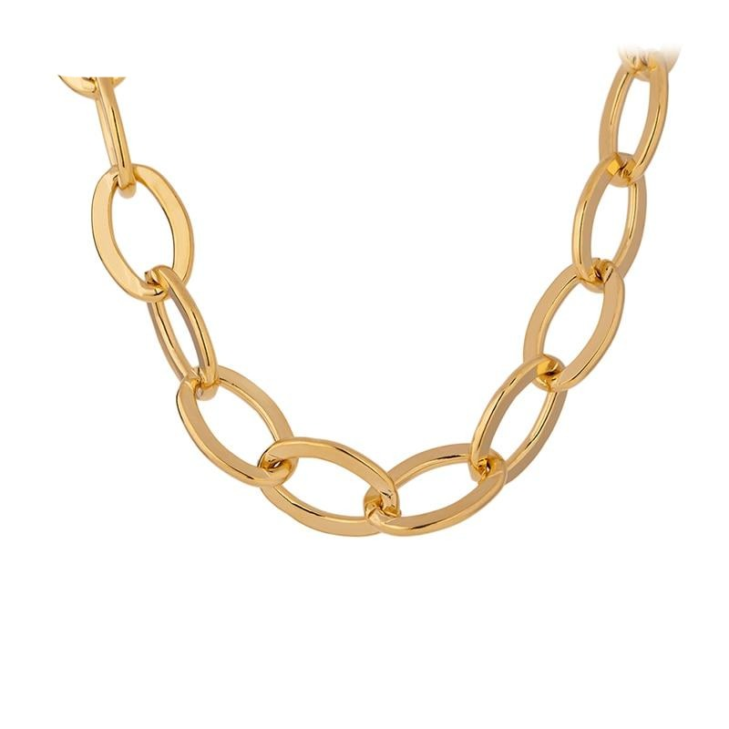 Yhpup Fashion Chain Copper Necklace for Women Chic Gold Color Metal 14 K Statement Necklace Jewelry Party Gift Accessories 2020