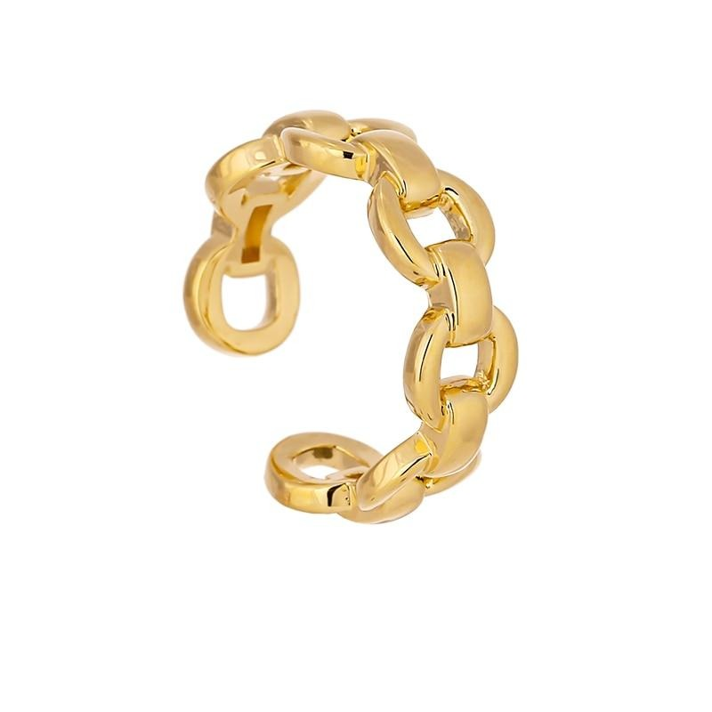 Yhpup Fashion Golden Chain Opening Ring for Women Minimalist Copper Engagement Finger Ring Metal Jewelry Office Gift 2020