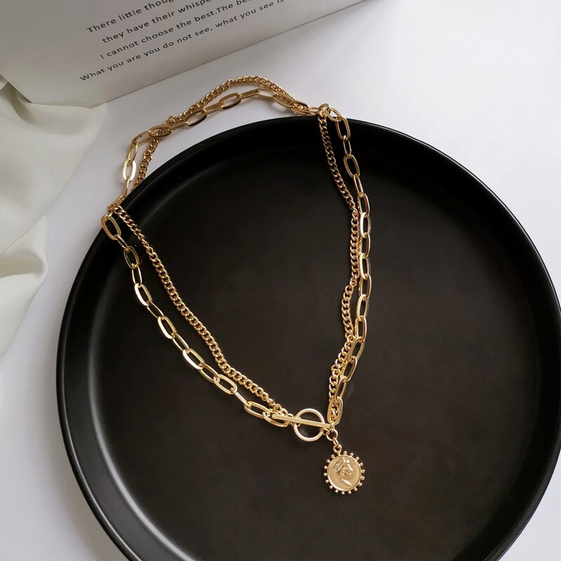 Creative Fashion Metal Head Portrait Pendant Necklace for Women Femme Gold Color Chain Double Layering Retro Necklaces Gifts