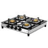 Sunshine Prime Alfa SS Four Burner Toughened Glass Gas Stove