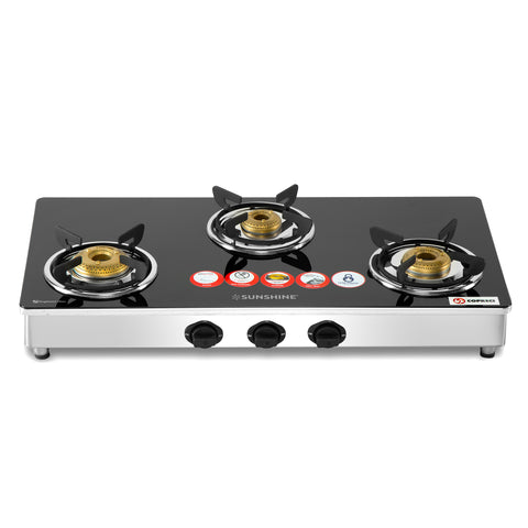 Sunshine Trendo Three Burner Toughened Glass Gas Stove