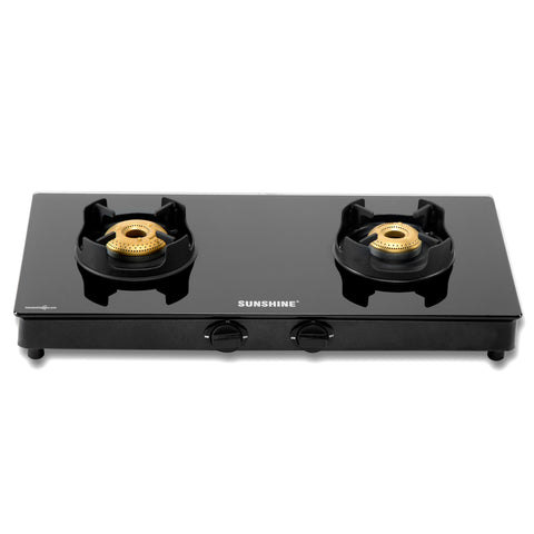 Sunshine Royal Black Double Burner Toughened Glass Gas Stove