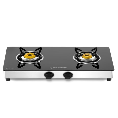 Sunshine Swift Double Burner Toughened Glass Gas Stove