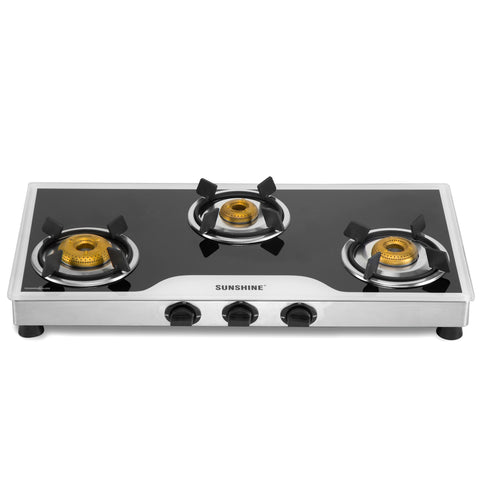 Sunshine Omega Three Burner Toughened Glass Gas Stove