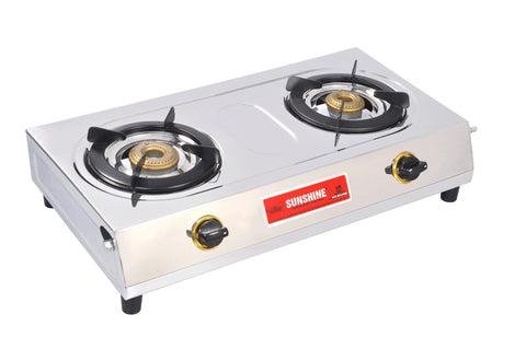 Sunshine Rhino Excel Double Burner Stainless Steel Gas Stove
