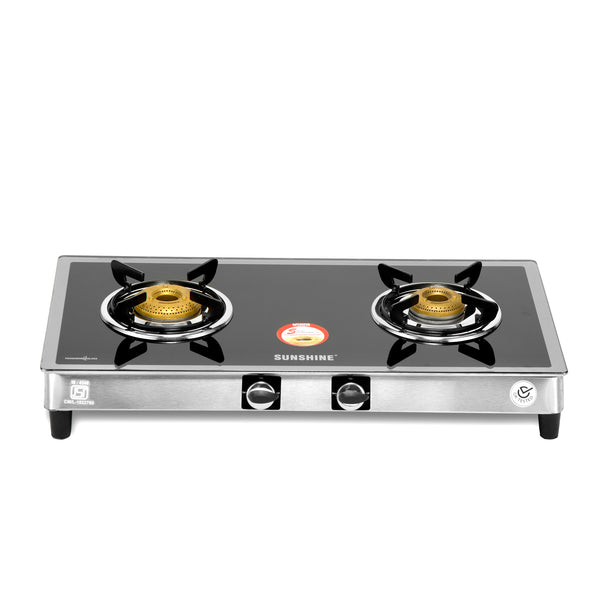 Sunshine Silver Series Alfa SS Two Burner Toughened Glass Gas Stove - Sunshine Super Kitchen