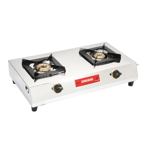 Sunshine Samsonite Double Burner Stainless Steel Gas Stove