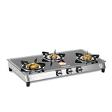 Sunshine Silver Series Alfa SS Three Burner Toughened Glass Gas Stove