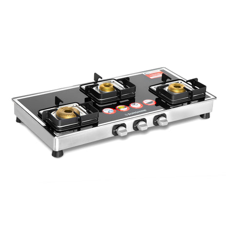 Sunshine Ten X 3 Burner Glass Top Gas Stove - Sunshine Super Kitchen
