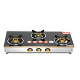 Sunshine Trendo Gold Three Burner Toughened Glass Gas Stove