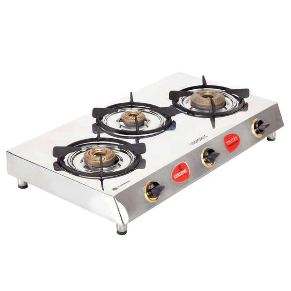 Sunshine Trigold Three Burner Stainless Steel Gas Stove