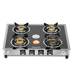 Sunshine Silver Series Alfa SS Four Burner Toughened Glass Gas Stove