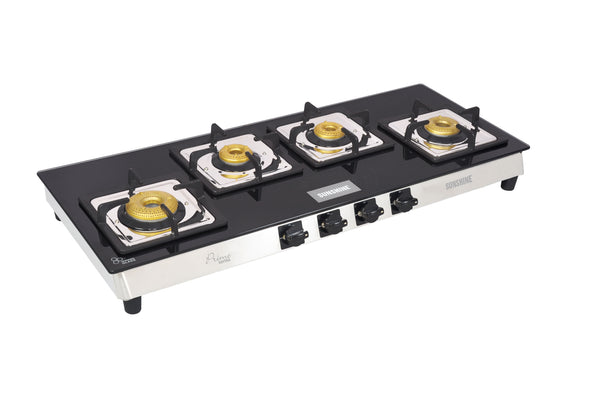Sunshine Prime Olympic Alfa SS Four Burner Toughened Glass Gas Stove